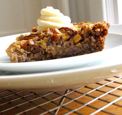 Slice of Peach-Pecan Tart with Gingersnap Cookie Crumb Crust