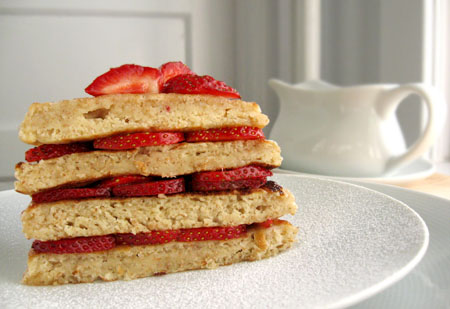 buttermilk pancakes stack with strawberries