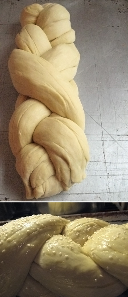 challah bread: braided and egg-washed