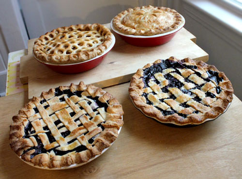blueberry & apple pies.